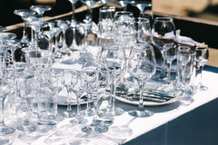 Glassware on the table Royalty Free Stock Images