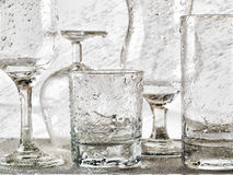 Glassware washing under water jets Stock Images