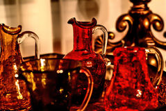 Glassware. Yellow and red antique glassware , very bright and colorful Royalty Free Stock Image