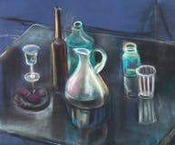 Glasswares em uma tabela ilustração stock