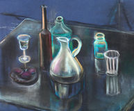Glasswares on a table stock illustration