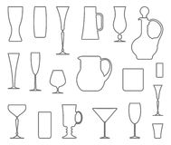 Glasswares. Vector outlines Royalty Free Stock Photo