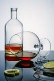 Glasswares-winh der Alkohol bleibt, Stücke und eine Schale eines Kalkes auf der reflektierenden Oberfläche Lizenzfreie Stockfotografie