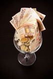 Glasswine of money Royalty Free Stock Images
