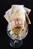 Glasswine of money Royalty Free Stock Photos
