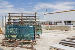 Glasswork at building site. Stock Photos