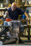 Glassworker in action in the Murano glassfactory 2 Stock Photography