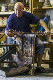 Glassworker in action in the Murano glassfactory 3 Stock Image
