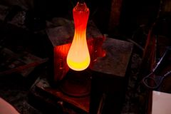 Glassworks manufacturing process royalty free stock images