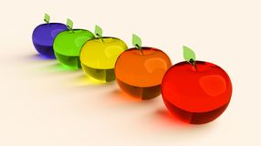 Glassy apple, glowing apple, 3d model. Colorful glassy apple. Blue, green, yellow, orange and red 3D apples stock photo