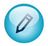 Glassy Blue Edit Icon. The Glassy Blue Edit Icon Button Stock Photos