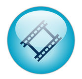 Glassy Blue Film Strip Icon. Button Royalty Free Stock Photo