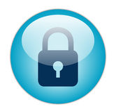 Glassy Blue Lock Icon Stock Photography