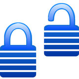 Glassy blue lock and unlock icon Stock Photos
