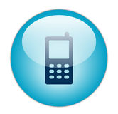 Glassy Blue Mobile Icon Stock Photography