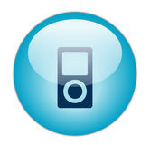 Glassy Blue Music Player Icon Royalty Free Stock Photography