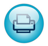 Glassy Blue Printer Icon Royalty Free Stock Photography