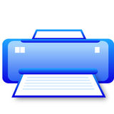 Glassy blue printer icon Royalty Free Stock Photo