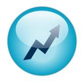 Glassy Blue Profit Icon Stock Images