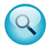 Glassy Blue Search Icon Royalty Free Stock Photography