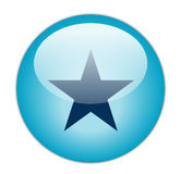 Glassy Blue Star Icon Stock Images