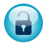 Glassy Blue Unlock Icon. The Glassy Blue Unlock Icon Button Royalty Free Stock Photography