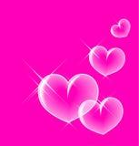 Glassy bubble hearts Stock Photos