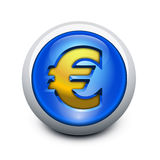 Glassy button Euro Stock Photography