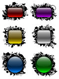 Glassy buttons in floral frames Stock Images