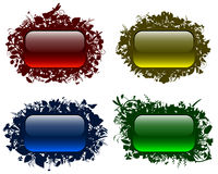 Glassy buttons in floral frames 2 Stock Photos