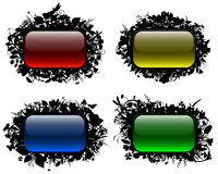 Glassy buttons in floral frames (set 2) Stock Photo