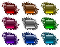 Glassy buttons in floral frames (set 3) Stock Image