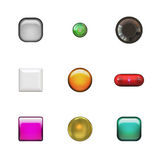 Glassy Buttons Variety Pack. A buttonset or iconset with a variety of 3d glassy shapes.  Great for use in web design or as bullets Royalty Free Stock Photos