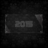 Glassy 2015 celebrate card. Abstract vector new year background decorated with glassy panel and snowflakes Stock Photo