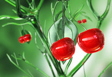 Glassy cherries. 3D abstract background stock illustration