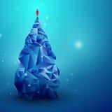 Glassy Christmas Tree. Abstract vector background. Christmas background. Holiday background. Christmas poster. Blue background. Vector illustration. Abstract Stock Photo