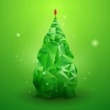Glassy Christmas Tree. Abstract vector background. Christmas background. Holiday background. Christmas poster. Green background. Vector illustration. Abstract vector illustration