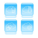 Glassy cloud icons Royalty Free Stock Photo