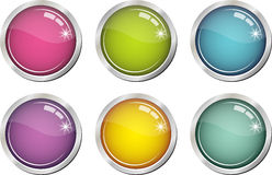 Glassy color buttons Royalty Free Stock Images