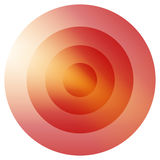 Glassy colorful radiating, concentric circles element. Glowing b. Right colorful icon, shape on white - Royalty free vector illustration royalty free illustration