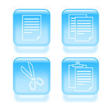 Glassy copy and paste icons Royalty Free Stock Photos