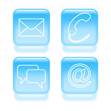 Glassy customer support icons. Royalty Free Stock Photos