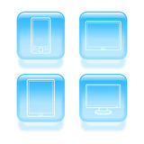 Glassy device icons Stock Images