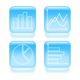 Glassy diagram icons Royalty Free Stock Photo