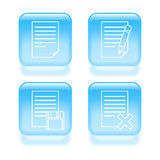 Glassy document edit icons Royalty Free Stock Image