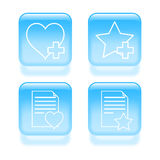 Glassy favorites icons Royalty Free Stock Photography
