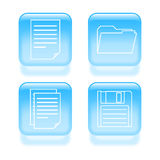 Glassy file icons Stock Photography