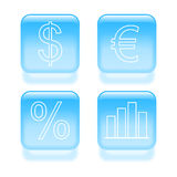 Glassy finance icons Royalty Free Stock Images