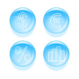 Glassy finance icons Stock Photography