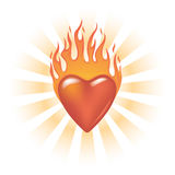 Glassy Flaming Heart. With Radial Burst Royalty Free Stock Images